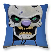 Skull Fun House Sign Throw Pillow by Garry Gay