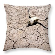 Skull in Desert 2 Throw Pillow by Kelley King