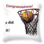 Slam Dunk Congratulations Greeting Card Throw Pillow by Yali Shi
