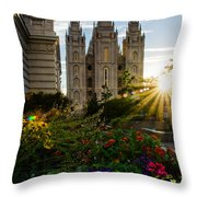 Slc Temple Sunburst Throw Pillow by La Rae  Roberts