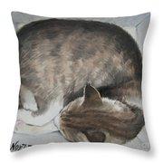 Sleeping Kitty Throw Pillow by Jindra Noewi