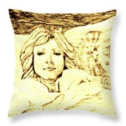 Sleepy Girl Friend On A Cat Pillow Throw Pillow by Sheri Parris