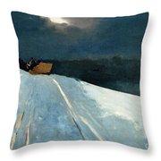 Sleigh Ride Throw Pillow by Winslow Homer