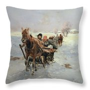 Sleighs In A Winter Landscape Throw Pillow by Janina Konarsky