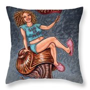 Slo Woman Throw Pillow by Holly Wood
