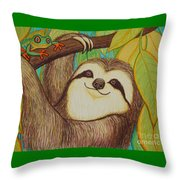 Sloth And Frog Throw Pillow by Nick Gustafson