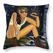 Smoke Break  Throw Pillow by Victoria  Johns