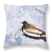 Snake Lake Duck Sketch Throw Pillow by Ken Powers