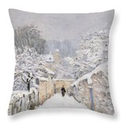 Snow At Louveciennes Throw Pillow by Alfred Sisley