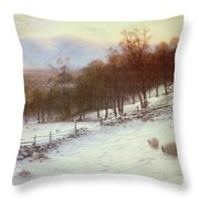 Snow Covered Fields With Sheep Throw Pillow by Joseph Farquharson