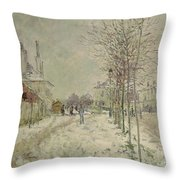 Snow Effect Throw Pillow by Claude Monet