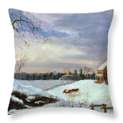 Snow Scene In New England Throw Pillow by American School