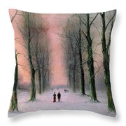 Snow Scene Wanstead Park   Throw Pillow by Nils Hans Christiansen