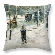 Snow Storm on Fifth Avenue Throw Pillow by Childe Hassam