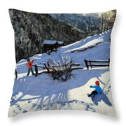 Snowballers Throw Pillow by Andrew Macara