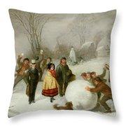 Snowballing   Throw Pillow by Cornelis Kimmel
