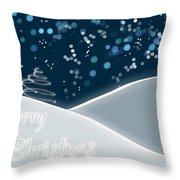 Snowy Night Christmas Card Throw Pillow by Lisa Knechtel