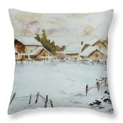 Snowy Village Throw Pillow by Xueling Zou