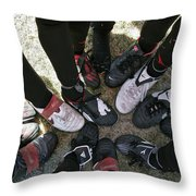 Soccer Feet Throw Pillow by Kelley King