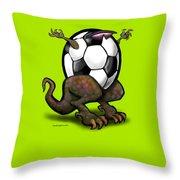 Soccer Saurus Rex Throw Pillow by Kevin Middleton