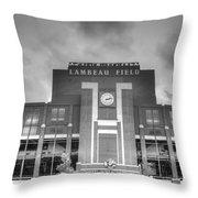 South End Zone Lambeau Field Throw Pillow by James Darmawan