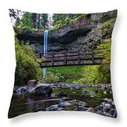 South Silver Falls With Bridge Throw Pillow by Darcy Michaelchuk