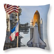 Space Shuttle Atlantis Sitting Throw Pillow by Mike Theiss