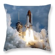 Space Shuttle Launching Throw Pillow by Stocktrek Images