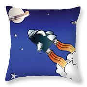 Space Travel Throw Pillow by Jane Rix
