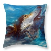 Spirit Of The Wolf Throw Pillow by Brian  Commerford