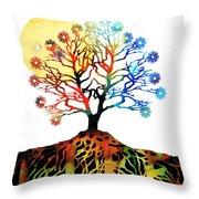 Spiritual Art - Tree Of Life Throw Pillow by Sharon Cummings