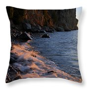 Split Rock Lighthouse At Dawn Throw Pillow by Larry Ricker