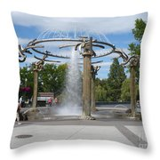 Spokane Fountain Throw Pillow by Carol Groenen