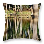 Spot the Swan Family Throw Pillow by Kaye Menner