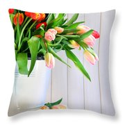 Spring Tulips On An Old Bench Throw Pillow by Sandra Cunningham
