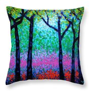 Spring Woodland Throw Pillow by John  Nolan