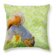 Squirrelly Throw Pillow by Jeff Kolker