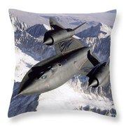 Sr-71b Blackbird In Flight Throw Pillow by Stocktrek Images
