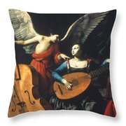 St. Cecilia And The Angel Throw Pillow by Granger