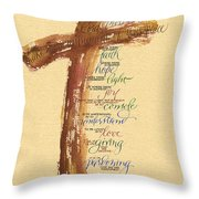 St Francis Peace Prayer  Throw Pillow by Judy Dodds