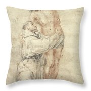 St Francis Rejecting The World And Embracing Christ Throw Pillow by Bartolome Esteban Murillo