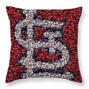 St. Louis Cardinals Bottle Cap Mosaic Throw Pillow by Paul Van Scott