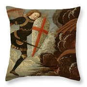 St. Michael And The Angels At War With The Devil Throw Pillow by Domenico Ghirlandaio