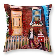 St. Urbain Street Boys Throw Pillow by Carole Spandau