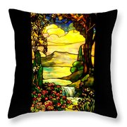 Stained Landscape Throw Pillow by Donna Blackhall