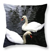 Stanley Park Swans Throw Pillow by Will Borden