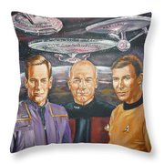 Star Trek Tribute Enterprise Captains Throw Pillow by Bryan Bustard