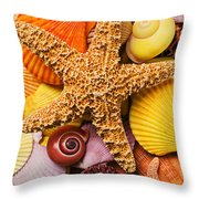 Starfish and seashells  Throw Pillow by Garry Gay