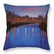 Starry Nights In Dublin Ha' Penny Bridge Throw Pillow by John  Nolan