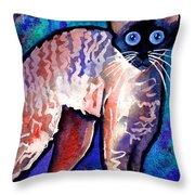 Startled Cornish Rex Cat Throw Pillow by Svetlana Novikova